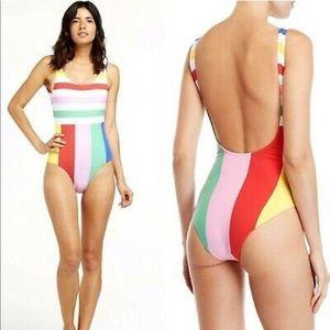 NWT Onia rainbow striped one piece swimsuit